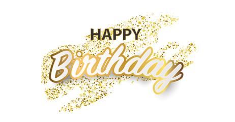 Happy birthday vector Celebration party banner Golden foil confetti and white and glitter gold.