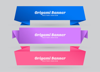 abstract origami banners set with text space