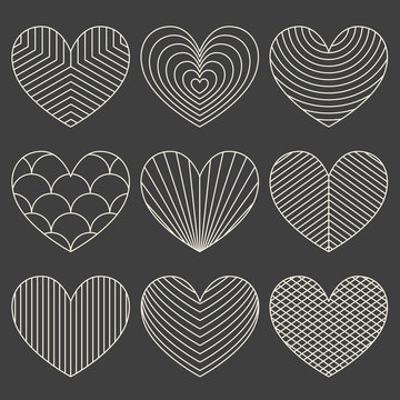 Linear minimalistic art deco heart set