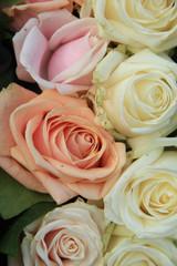 Pastel roses in a wedding arrangement
