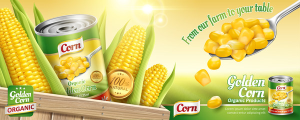 Organic canned corn ads Fototapete