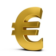 3D Rendering golden Euro Sign isolated on white background