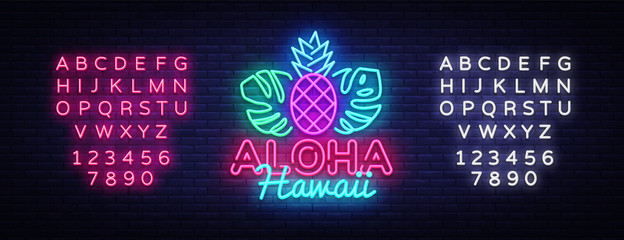 Aloha neon sign vector. Aloha Hawaii Design template neon sign, summer light banner, neon signboard, nightly bright advertising, light inscription. Vector Illustration. Editing text neon sign