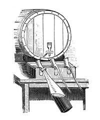 Abfüllapparat.aus: Marie Adenfeller, Friedrich Werner: Illustriertes Koch- und Haushaltungsbuch, Friedrichshagen 1899/1900, S. 7, Fig. 8.