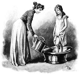 Knieguß.aus: Anna Fischer Dückelmann: Die Frau als Hausärztin, 2. Aufl., Stuttgart, .1907, S. 324, Fig. 183.