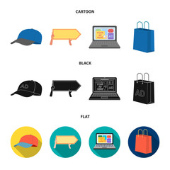 Baseball cap, pointer in hands, laptop, shopping bag.Advertising,set collection icons in cartoon,black,flat style vector symbol stock illustration web.