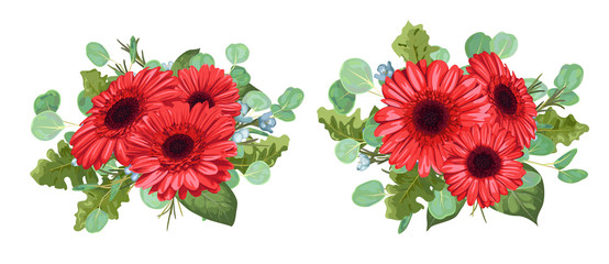 Set a bouquet of red gerberas, eucalyptus and wax flowers isolated on white background