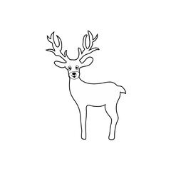 Christmas deer character children coloring page line art isolated on white