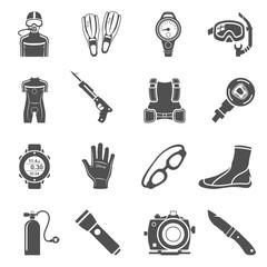 Black Icons - Scuba Diving Equipment