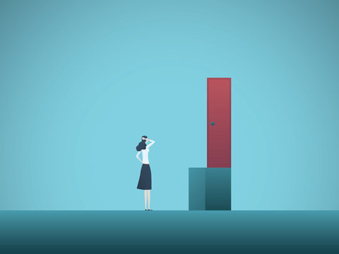 Business woman challenge vector conept. Businesswoman finding solution. Symbol of creativity, solving problems at work.