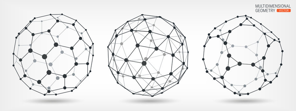 Multifaceted geometric shapes. Abstract background. Wireframe of lines and points. Complex geometric polygonal mesh. Transparent elements. Set of templates for design projects.