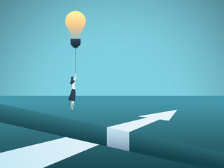 Business creativity vector concept with business woman flying over gap with lightbulb. Symbol of innovation, invention, solution, breakthrough, ambition, motivation.