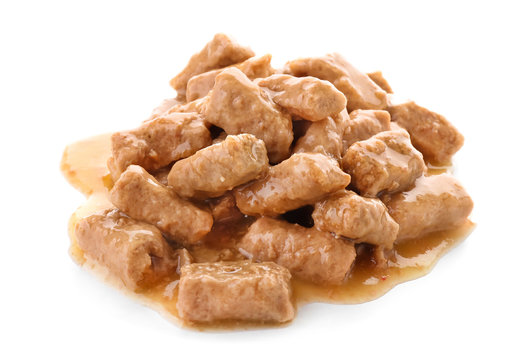 Pile of pet food on white background