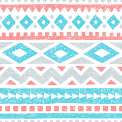 Vintage striped pattern. Geometric seamless print. Vintage background, handmade. White, gray, blue and pink colors.