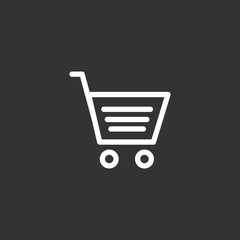 Shopping cart basket trolley icon flat vector illustration