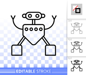 Household Robot simple black line vector icon