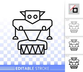 Robot simple black line vector icon