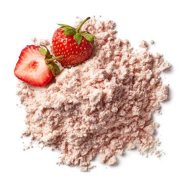 Heap of strawberry protein powder