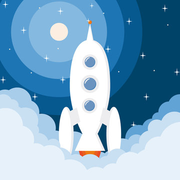 Spaceship launch rocket start-up. A spaceshuttle or rocket launch with clouds, sky and stars.