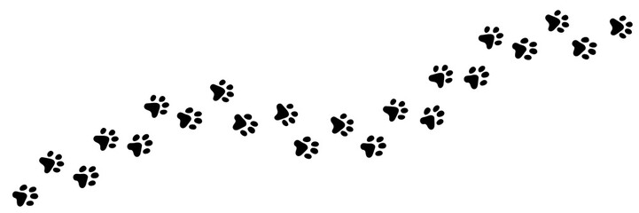 Paw vector foot trail print of cat. Dog, puppy silhouette animal diagonal tracks for t-shirts, backgrounds, patterns, websites, showcases design, greeting cards, child prints and etc. Wall mural