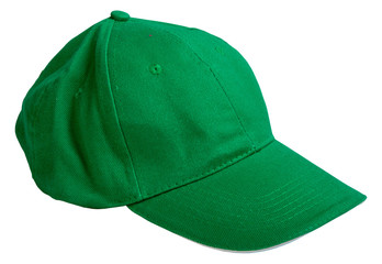 green baseball cap. isolated on white background