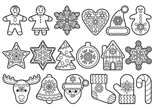 Christmas and New Year outline objects set