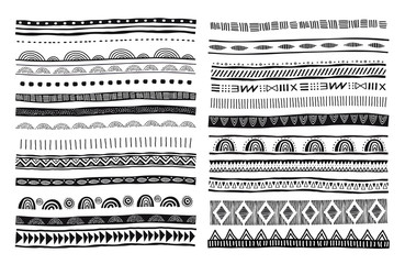 Wall Murals Boho Style African, tribal, ethnic vector pattern brushes. Vector design elements, tribal geometric ornament, frames, borders