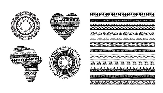 African, tribal, ethnic vector pattern brushes. Vector design elements, tribal geometric ornament, frames, borders
