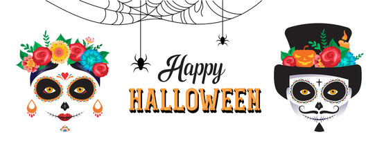 Happy Halloween poster, banner and card with woman and man skull make up