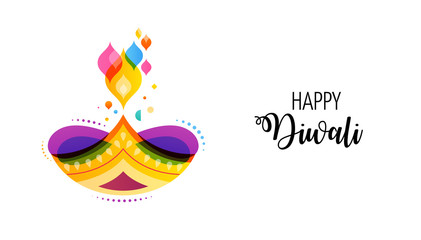 Happy Diwali Hindu festival banner. Burning diya illustration, background for light festival of India