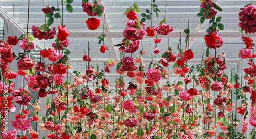 Wedding Ceremony Decoration With Many Artificial Flower Hanging From