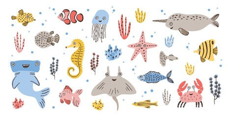 Wall Mural - Bundle of happy adorable marine animals - narwhal, hammerhead, skate or ray, crab, fish, starfish and jellyfish isolated on white background. Sea and ocean fauna. Flat cartoon vector illustration.