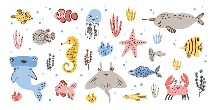 Bundle of happy adorable marine animals - narwhal, hammerhead, skate or ray, crab, fish, starfish and jellyfish isolated on white background. Sea and ocean fauna. Flat cartoon vector illustration.