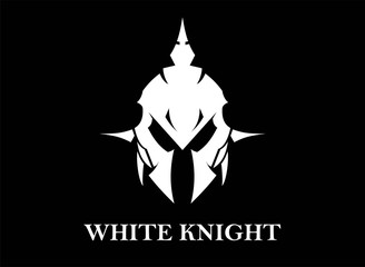knight head in white on black background.