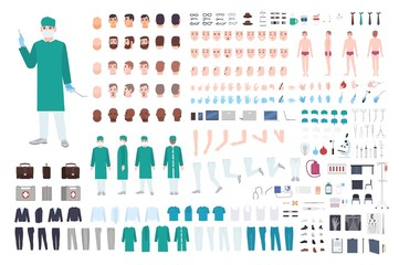 Doctor, surgeon or paramedic constructor or DIY kit. Collection of male physician body parts, facial expressions, clothing, medical equipment isolated on white background. Cartoon vector illustration.