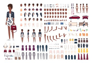 Stylish African American woman constructor. Trendy girl creation set. Various postures, hairstyle, face, legs, hands, clothes, accessories. Front, side, back views. Flat cartoon vector illustration.
