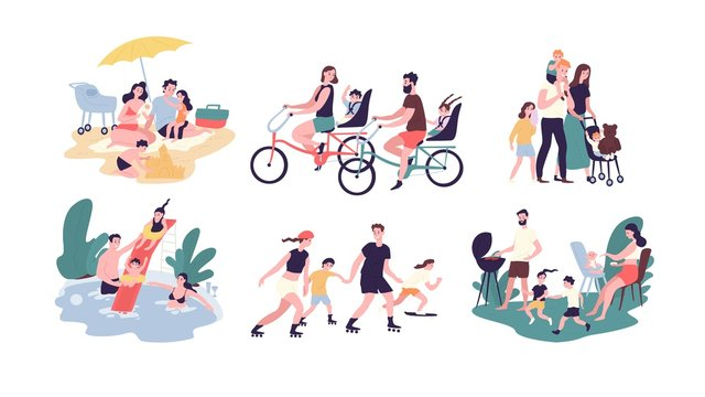 Collection of family outdoor recreational activities. Mother, father and children sunbathing, riding bikes, walking, swimming, roller skating, preparing barbecue together. Cartoon vector illustration.