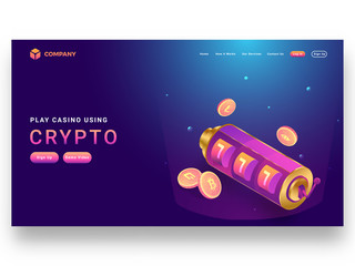 Responsive landing page design with isometric slot machine and crypto coins.