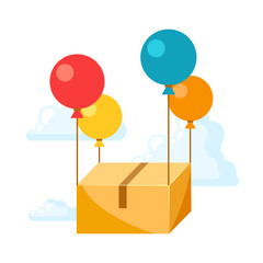 Balloons with delivery box.