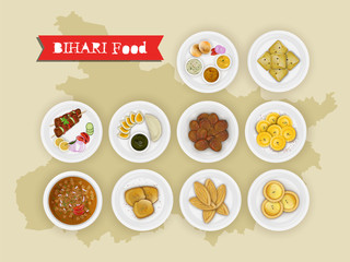 Bihari food set with state map and top view illustration of traditional dishes.