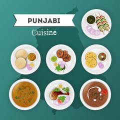 Punjabi cuisine set with illustration of state map on shiny green background.
