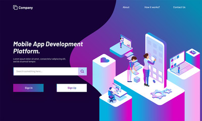 Responsive web template design with isometric view of working people, download or develop application in smartphone for Mobile App Development concept.