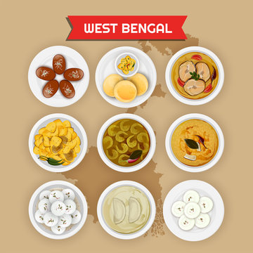 West Bengal cuisine set with illustration of state map.