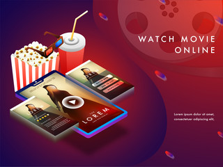 Online movie concept with isomeric set-up, movie playing on smart phone screens with 3D glasses, cold drink and popcorn.