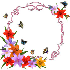 Photo frame with butterflies and flowers on a white background.