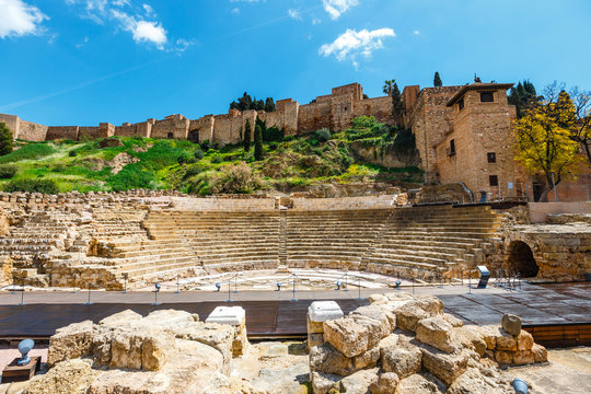 The fortress Alcazaba withe ruins of roman theater, Malaga, Spain