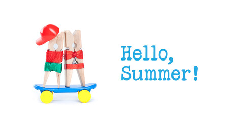 Pop art style Hello summer concept. Clothespin skateboarders. Skating boy, girl on blue skate board. White background.