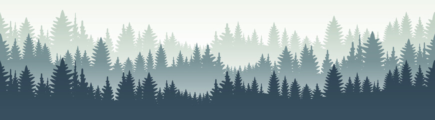 Seamless forest landscape. Vector illustration. Layered trees background. Outdoor and hiking concept. Fototapete