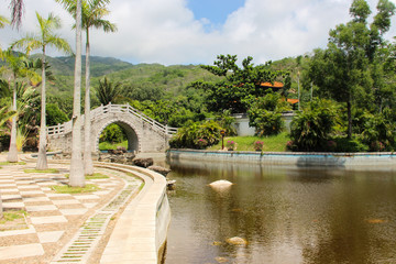 Beautiful view in Sunny weather on Hainan island in the center of Nanshan Buddhism.
