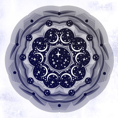 Abstract space circle geometric shape pattern design and background with stras and crescent moon.